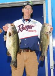 Clark Smith of Pell City, Ala., is in third place with five bass weighing 23 pounds, 9 ounces. His limit was anchored by an 8-pound, 4-ounce monster that took big bass honors on day one.