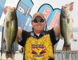 Casey Martin of Huntsville, Ala., is in fourth place with five bass weighing 23 pounds, 6 ounces.