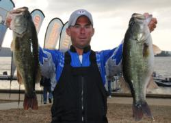 Jake Morris of McKee, Ky., rounds out the top five after day one with five bass weighing 23 pounds, 2 ounces.