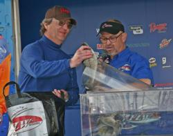 Second place co-angler Rick Carden experimented with multiple colors of crankbaits.