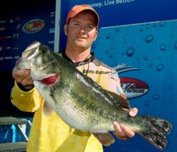 BioBor EB Pro Christopher Brasher of Spring, Texas, won the Snickers Big Bass award after landing a whopping 9-pound, 4-ounce largemouth. Brasher, who finished the day in 21st place, won $214 for his catch.