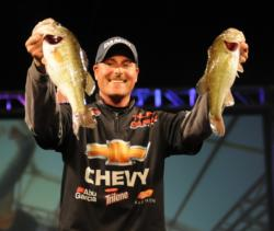 Chevy pro Bryan Thrift is in fourth place with a three-day total of 45 pounds, 6 ounces.