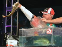 Fourth-place pro Stacey King holds up his biggest bass from day four on Lake Hartwell.