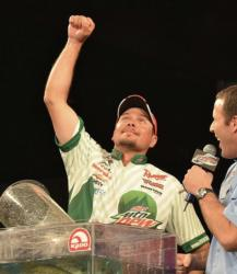Jason Christie celebrates after winning the FLW Tour event on Lake Hartwell.