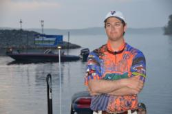 Day-two leader Jake Gipson of the University of Florida spends a few quiet moments reflecting on the day ahead.