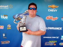 Co-angler Dathan Lambeth of West Point, Miss., earned $2,403 as winner of the April 9 BFL Mississippi Division event.