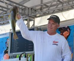 Co-angler Sean Stepp sits in second place with 17 pounds, 13 ounces.