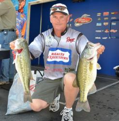 Fourth-place pro Robbie Dodson holds up two nice Chickamauga largemouths.