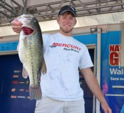 Keeton Blaylock leads the Co-angler Division with 18 pounds, 8 ounces.
