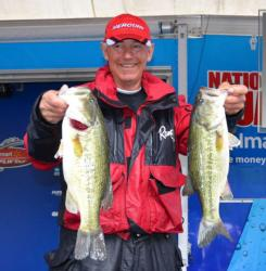 Tom Monsoor sits in fourth place with a two-day total of 36 pounds, 15 ounces.