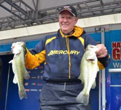 Co-angler Alton Lackie sits in second place with a two-day total of 29 pounds.