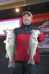 Rhett Fornof of Park City, Utah, leads the Co-angler Division with 31-13, which included these two brutes caught during Friday