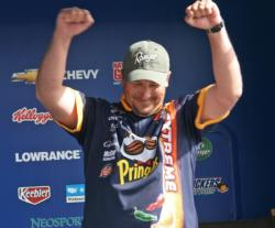Washington pro Sean Minderman reacts to the news of his victory.