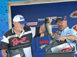 Third place co-angler Gary Morris caught the biggest fish of the tournament - an 11-pound, 6-ounce largemouth.