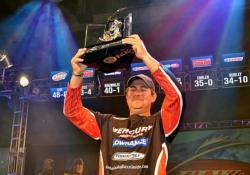 Pro John Cox of DeBary, Fla., caught a five-bass limit weighing 7 pounds, 13 ounces Sunday to lead wire to wire and win $100,000 at the Walmart FLW Tour on the Red River with a four-day catch of 20 bass weighing 48-8.