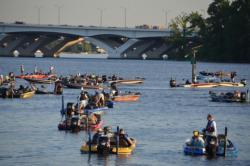 FLW Tour anglers patiently await the start of takeoff on the Potomac River.