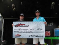 The Kennesaw State University team of James Ellis and William Roland placed first in the FLW College Fishing event on Pickwick Lake.