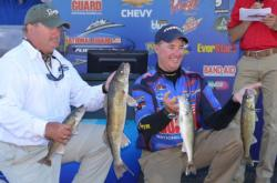 Co-angler Tim Depooter and pro Mark Courts hold up their four walleyes from day three on Leech Lake.