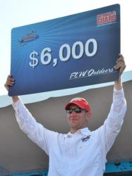 For winning the FLW Walleye Tour event on Leech Lake, co-angler Alan Wegleitner took home a check for $6,000.