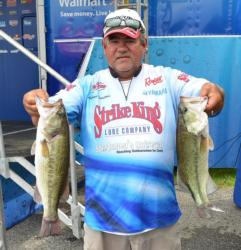 Co-angler Tony Dumitras sits in second place with a two-day total of 35 pounds, 3 ounces.