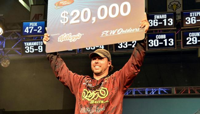 For winning the FLW Tour event on Kentucky Lake, co-angler Richard Peek earned $20,000.
