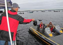 Anglers make their way through boat check on the morning of day one.