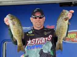 Targeting bed fish, Michael Wolfenden caught his bass on grubs and tubes.