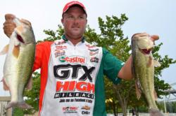 Current FLW Tour Angler of the Year leader David Dudley of Lynchburg, Va., finished the first day of Pickwick Lake competition in 10th place.