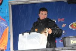 Upsizing to a 1-ounce dropshot weight helped pro leader Chris Johnston fish effectively in the rough conditions.