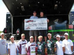 The top five teams finishing the National Guard FLW College Fishing Northern Division event at 1000 Islands