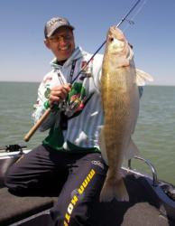 The sensitivity of braided line is a bonus in deep water, but FLW Walleye Tour pro John Balla suggests adding a leader of monofilament for a little shock absorption.