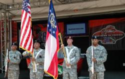 Local Guardsmen presented colors on the National Guard Junior World Championship stage in preparation for the 82 junior anglers from the TBF who will compete this week.