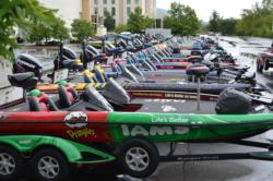 Custom-wrapped tournament boats line the Summit Arena & Hot Springs Convention Center at the 2011 Forrest Wood Cup.