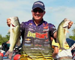 Third-place pro Randall Tharp caught a five-bass limit Saturday weighing 12 pounds, 5 ounces.