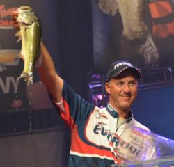 Fifth-place pro Andy Morgan holds up his biggest bass from day four on Lake Ouachita.