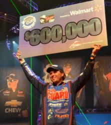 For winning the 2011 Forrest Wood Cup on Lake Ouachita, Florida pro Scott Martin earned $600,000.