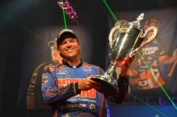 Scott Martin proudly displays his trophy after claiming victory at the 2011 Forrest Wood Cup.