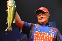 Mark Rose shows off his third-place catch at the 2011 Forrest Wood Cup.