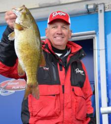 Fourth-place co-angler William Rogers holds up a nice Lake Champlain smallmouth.