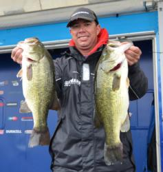 Florida pro Arnie Lane sits in third place after catching a five-bass limit weighing 21 pounds, 5 ounces.