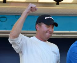 Co-angler Casey Martin celebrates after winning the FLW Tour event on Lake Champlain.