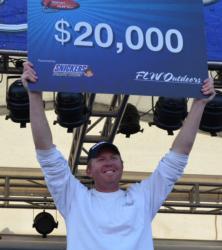 For winning the FLW Tour event on Lake Champlain, co-angler Casey Martin earned $20,000.