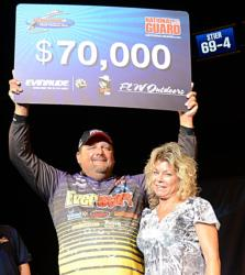 EverStart pro Dan Stier, pictured with his wife, Carmen, earned $70,000 for winning the National Guard FLW Walleye Tour Championship on the Missouri River.
