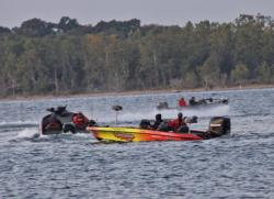 Most anglers headed west at the day-one takeoff.