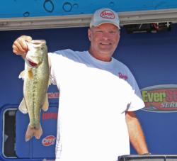 Co-angler Kevin McCullough earned Snickers Big Bass honors with this 4-pound, 6-ounce largemouth.