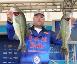 Clent Davis sits in fourth place in the Pro Division after catching 18 pounds, 6 ounces on day one.