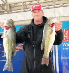 Pro Bryan Schmitt sits in fifth place after catching 17 pounds, 7 ounces Thursday.