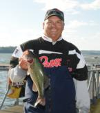 Second-place pro Tripp Pittman holds up one of his five Lake Guntersville keepers.