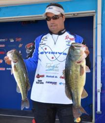 Third-place co-angler Chad Billiot caught a 21-pound, 7-ounce stringer on day two after taking a zero on day one.