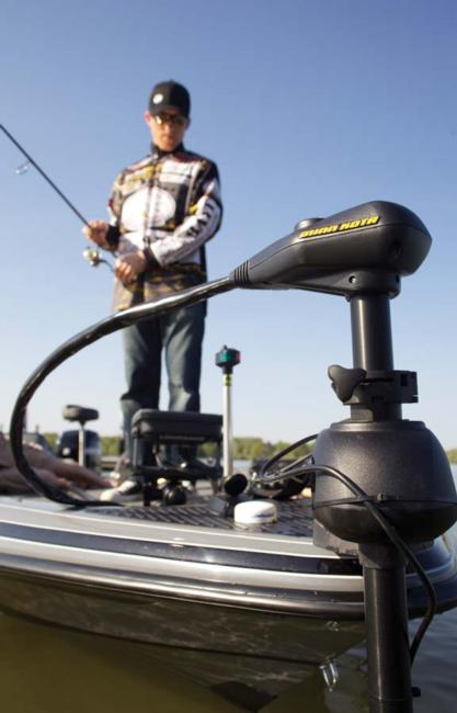 Bass pro Kevin Hawk spends the majority of his day looking down at his electronics when he is targeting suspended fish.